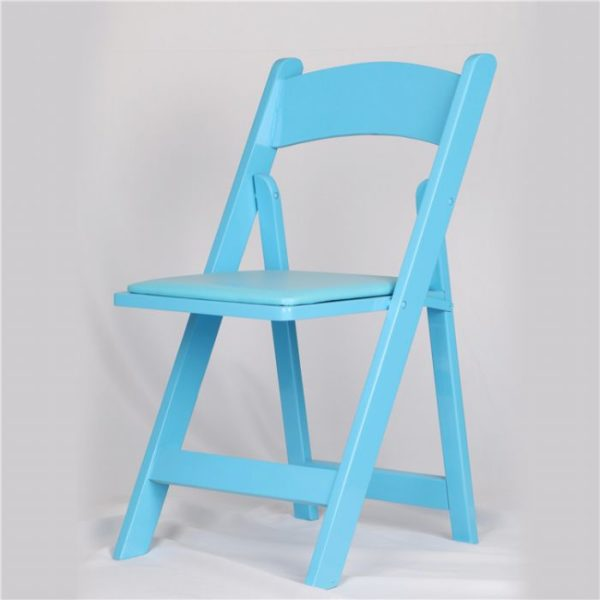 כיסא עץ מתקפל תכלת – Light Blue Wood folding chair