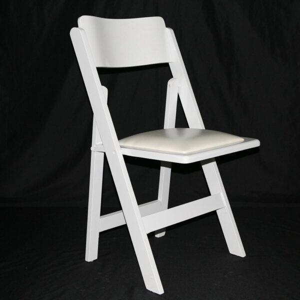כיסא עץ מתקפל לבן עם ריפוד primeum.